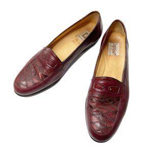 Vintage Magnanni Lizard loafers burgundy size 11N